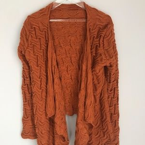 Made in Italy Open Front Sweater Orange Textured